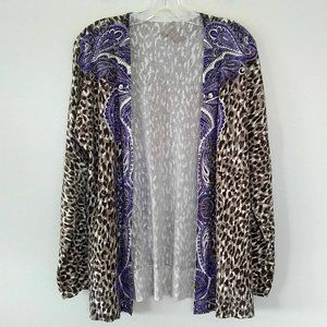 Chico's Mixed Leopard Paisley Print Open Cardigan